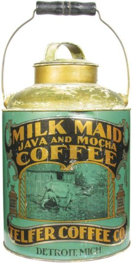 Milk Maid Java & Mocha Can, Telfer Coffee Co., Detroit, MI. Ca. 1900