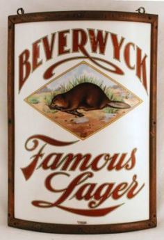 Beverwyck Vitrolite Corner Beer Sign, Pre-Prohibition. Albany, NY. Ca 1910