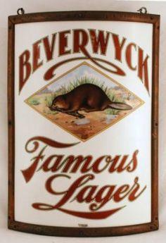 Beverwyck Vitrolite Corner Beer Sign, Pre-Prohibition. Albany, NY. Ca 1910