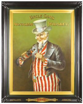 Uncle Sam's Monogram Whiskey, Tin Sign, Geo. Benz & Sons, MSP, MN. Ca. 1900
