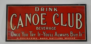 Canoe Club Beverage Tin Over Cardboard Sign, E. Ducharme Bottling, Aldenville, MA.  Ca. 1918