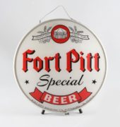 Fort Pitt Special Beer, Ft. Pitt Brewing Co., Pittsburgh, PA.  Self Framed Round Sign.  Ca. 1935