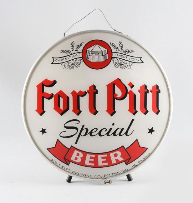 Fort Pitt Special Beer Round Tin Sign, Ft. Pitt Brewing Co., Pittsburgh, PA. Circa 1935