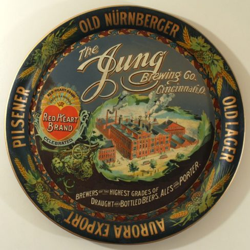 Jung Brewing Company, Tin Serving Tray, Cincinnati, OH. Ca. 1910