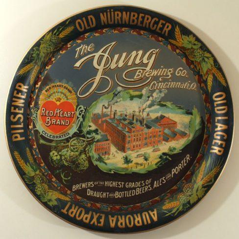 Jung Brewing Company, Tin Serving Tray, Cincinnati, OH. Ca. 1910