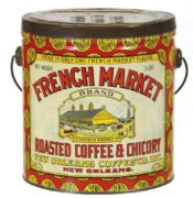 French Market Roasted Coffee & Chicory Tin Can, New Orleans Coffee Co., LA.  Circa 1920