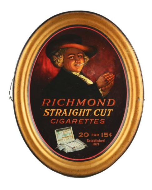 Richmond Straight Cut Cigarette Self-Framed Tin Sign, Allen & Ginter Co., Ca 1900