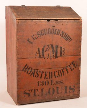 E. C. Scudder Acme Wooden Roasted Coffee Bin, St. Louis, MO. Ca. 1900
