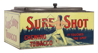 Sure Shot Chewing Tobacco Tin Can, Spaulding & Merrick Company, Chicago, IL.  Ca. 1920