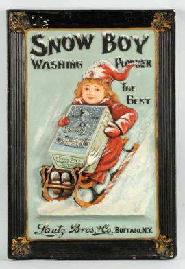 Snow Boy Washing Powder Tin Sign, Lautz Bros, Buffalo, N.Y. Circa 1910