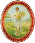2 O'CLOCK CLUB RYE WHISKEY SERVING TRAY, ADOLPH LOEB & CO, CINCINNATI, OH.  Circa 1900
