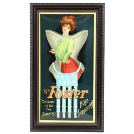 Foster Hose Lithograph Sign, Foster Hose Supporter Co., Chicago, IL. Ca. 1900
