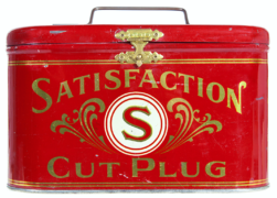 Satisfaction Cut Plug Tobacco Lunch Pail Tin.  Circa 1920