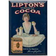 Lipton's Instant Cocoa Tin Over Cardboard Sign.  Circa 1910