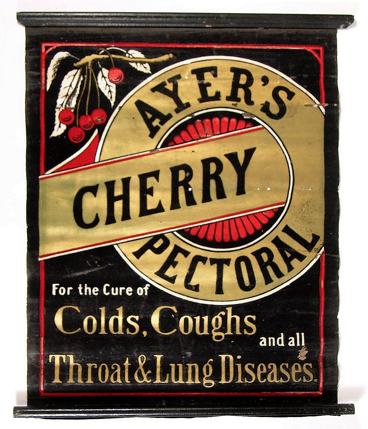 Ayer's Cherry Pectoral Cough Cold Remedy Wood Sign, Lowell, MA., Circa 1895