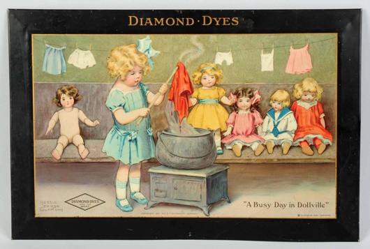 Diamond Dyes Sign A Busy Day in Dollville Self Framed Tin Sign, Circa 1910