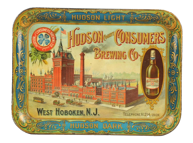 Hudson Consumers Brewing Co. Tray, West Hoboken, N.J. Pre Pro Circa 1910