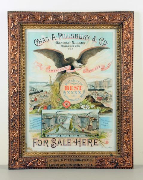 Chas. A. Pillsbury Milling Co., Gesso Framed Lithograph. Circa 1900