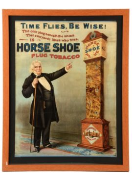 Horse Shoe Tobacco, Lithograph Sign, Drummond Tobacco Co., St. Louis, MO. Circa 1895