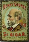 HENRY GEORGE 5 CENT CIGAR TIN SIGN, HIRSCHHORN MACK & CO., N.Y., Circa 1900