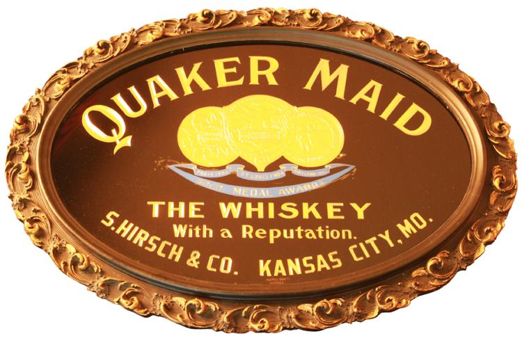 Quaker Maid Whiskey Reverse on Glass Sign, S. Hirsch & Co., Kansas City, MO. Circa 1900