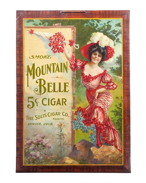 Mountain Belle Cigar Lithograph, The Solis Cigar Co., Denver, CO., Circa 1900