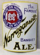 NARRAGANSETT BANQUET ALE PORCELAIN SIGN, Circa 1910