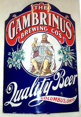 Gambrinus Brewing Co, Porcelain Corner Sign, Columbus, OH. Circa 1900