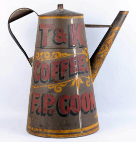 T & K Coffee Pot, Thurston & Kingsbury, Bangor, ME, Trade Sign Three Dimensional Coffee Pot