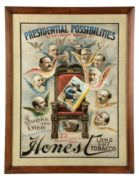 Honest Long Cut Plug Tobacco Lithograph, Presidential Possibilities!