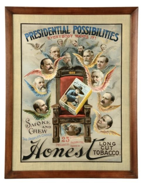 Honest Long Cut Plug Tobacco Lithographic Sign, 1892