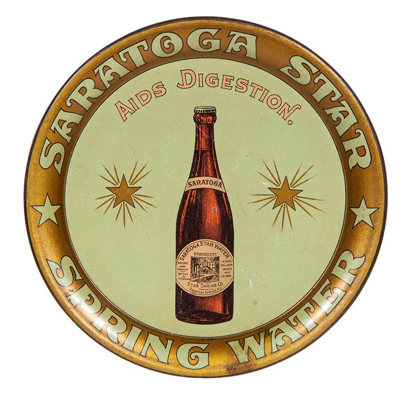 Saratoga Star Spring Water, Metal Serving Tray, Saratoga Springs, N.Y., Circa 1910