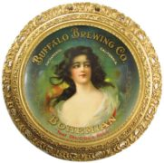BUFFALO BREWING CO., SACRAMENTO, CA., GESSO FRAMED TIN SIGN.  Circa 1910