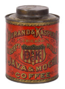 DURAND & KASPER COFFEE CO., CHICAGO, IL., JAVA & MOCHA TIN CAN.  Circa 1905