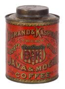 DURAND & KASPER COFFEE CO., CHICAGO, IL., JAVA & MOCHA TIN CAN.  Circa 1905