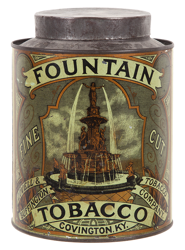 Fountain Tobacco Tin, Lovell & Buffington Tobacco Co, Cincinnati, OH