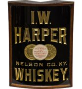 I. W. HARPER WHISKEY REVERSE ON GLASS CORNER SIGN, NELSON COUNTY, KY. Circa 1900