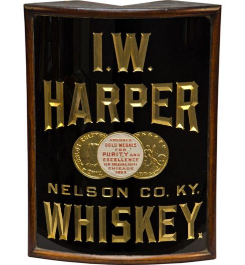 I.W. Harper Whiskey, Reverse on Glass Corner Sign, Nelson County, KY. Circa 1910