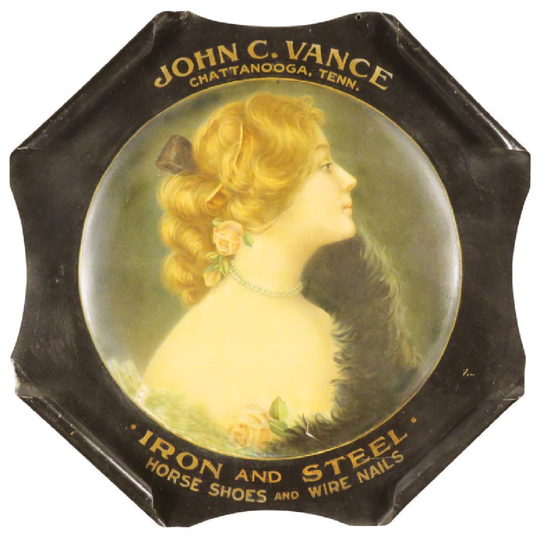 John C. Vance Iron Horse Shoes Rolled Edge Sign, Chattanooga, TN. Circa 1900