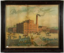 Herman Berghoff Brewing Company Lithographic Factory Scene Print, Ft. Wayne, IN.  Ca. 1900