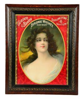 Glasner - Barzen Distilling Co., Diplomat Whiskey Lithograph, Kansas City, MO 1905