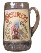 CONSUMER'S BREWING CO., GLASS BEER MUG, ST. LOUIS, MO.  Circa 1905