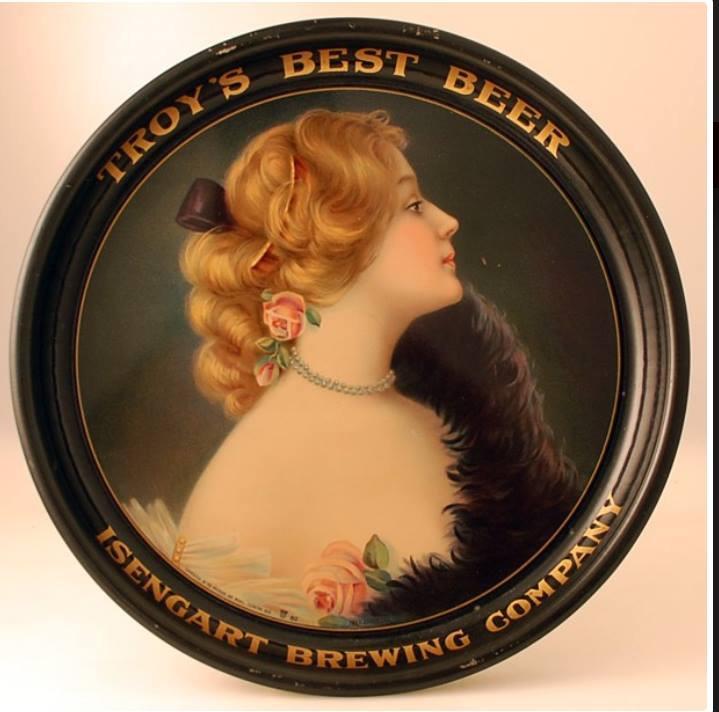 Isengart Brewing Co., Tin Serving Tray, Troy, NY. Circa 1910