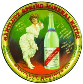 Bartlett Spring Mineral Waters Serving Tray, Lake County, CA. Circa 1910