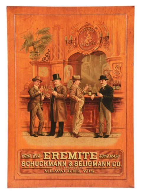 Schuckmann & Seiligmann Distillery, Milwaukee, WI. Eremite Sour Mash Meyercord Sign. Ca. 1900