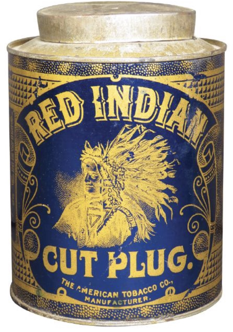Red Indian Cut Plug Tobacco Can, American Tobacco Co. Circa 1915