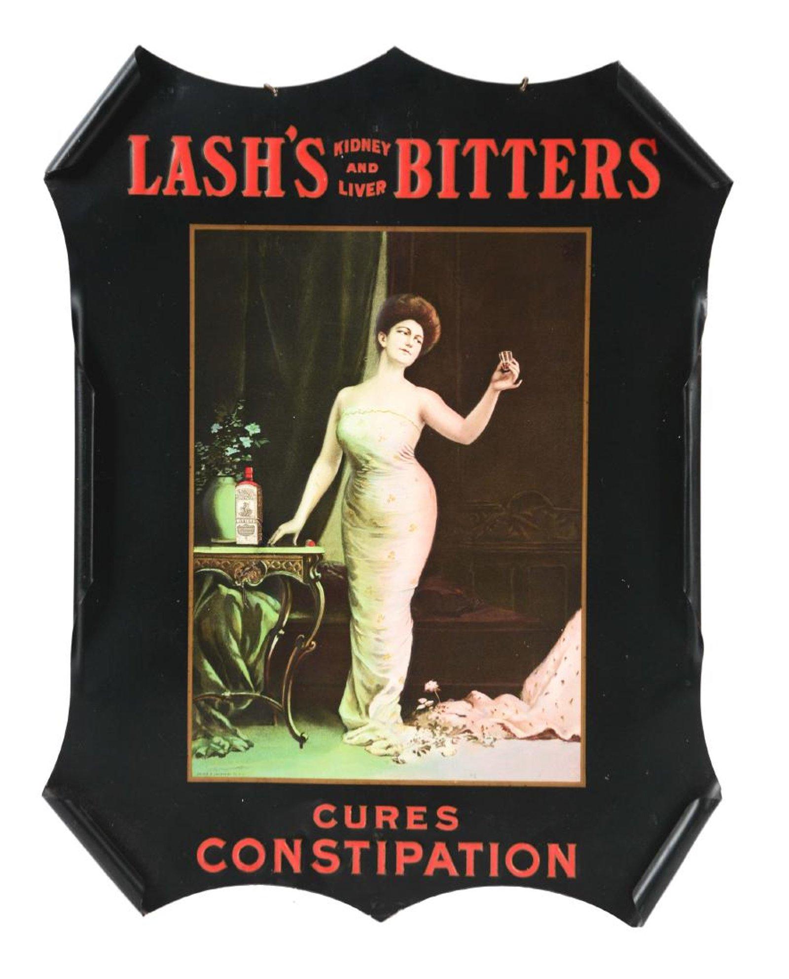 Lash's Kidney & Liver Bitters Tin Sign. Circa 1900