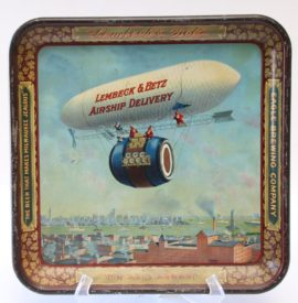 Lembeck & Betz Eagle Brewing Co., Airship Delivery Serving Tray. Circa 1905