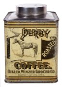 DERBY COFFEE TIN, BIKLEN WINZER GROCER CO., BURLINGTON, IA.  Ca. 1915