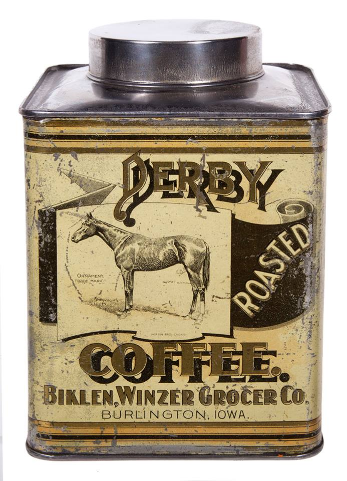 Derby Coffee Can, Biklen Winzer Grocer Co., Burlington, IA. Circa 1915